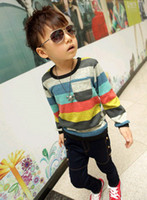 Wholesale Hot sale boys sweater kids knitted colorful stripes cardigan baby top children wear