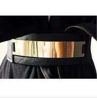 Wholesale Latest golden mirror leather wide belt blings