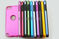 Silicone For Apple iPhone  300pcs lot Aluminum Metal Hard Shell Case Soft Silicon Cover 2 in 1 Hybrid Case for ipod Touch 5