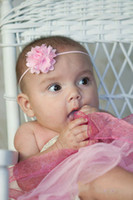Wholesale 2 quot Satin and Tulle Fabric Flower puff newborn baby headbands infant Mini Satin Flower Headband HM29
