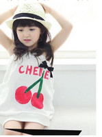 Wholesale girl wiping a bosom skirt white baby clothing Kid Clothes cherry kids one piece children garments
