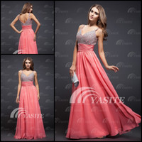 Wholesale 2013 New A Line Empire Spaghetti Beads Sequin Chiffon Backless Coral Homecoming Dress Prom Dress