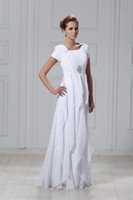 Wholesale 2013 Square Sheath White Chiffon Simple Draped Strap Floor Length Short Sleeve Wedding Dresses WD258