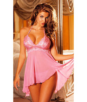 Wholesale Erotic Adult Lingerie Sexy Babydoll For Women Classic Multi fibre Babydoll Skirt Plus Size Pink Blue Purple Sleepwear I8041