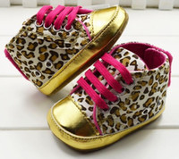 Wholesale Children Shoe Baby Shoes Kids First Walker Shoe Leopard Leather Shoes Toddler Lace Up EMS Free