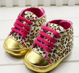 Wholesale Baby shoes Kids first walker shoe Leopard leather shoes toddler lace up shoe