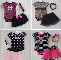 Wholesale Little Girl Set Leopard Romper Bodysuit amp Ruffled Skirt Dress amp Headband Bow U pick SZ Design