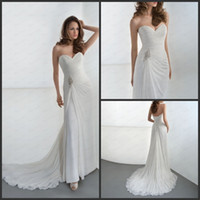 Reference Images Strapless Chiffon Summer Bridal Gowns Chiffon Side Split Strapless Lace Up Jeweled Applique Bodice Demetrios DR181