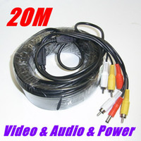 Wholesale 20M Audio Video FT RCA Power AV Cable F CCTV Camera Security Surveillance