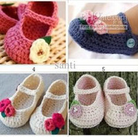 Wholesale FLOWER BABY CLOTHES BOOTIES SHOES MARY JANE MONTHS CROCHET handmade infant baby shoes