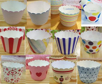 paper cupcake box - Paper bucket MUFFIN paper cake cups Stripe and Dot Paper CUPCAKE CASES baking cup cake holder