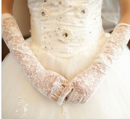 Wholesale Lace beautiful Ladies ivory Stretchy Satin gloves wedding bridal opera