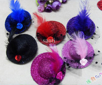 Wholesale Mini top hat HAIR clips fascinator CUTE children hair clip Feather Cocktail fashion Party Decoration