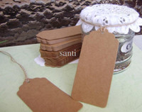 Wholesale Retro Gift tag message cards Kraft Tag tags table card Scallop Kraft Blank Hang tag with rope