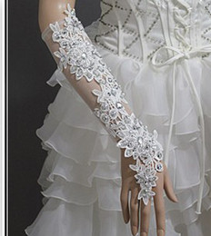 Wholesale Bright white lace bridal gloves long gloves the transparent sexy dance noble married a short drill