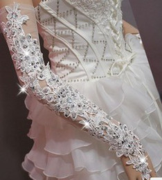Wholesale Diamond shinging Bright white lace bridal gloves long gloves the transparent sexy dance noble marri