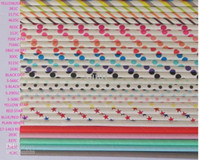 Wholesale 60 colors optional Drinking Paper Straws Sip Sticks wedding party straws Striped poka dot