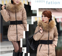 Wholesale Winter Women luxury large fur collar slim thickening medium long down coat wadded jacket outerwear