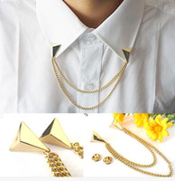 Venta al por mayor 20pcs / lot oro de oro de punto pin blusa camisas collar cuello punta broche pin cadena collar punk