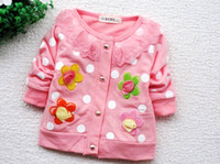 Wholesale 4sets Sweet flower lace neck baby girls long sleeved coat