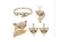 Wholesale 18K Gold Plated Luxury Fox Design Austrian Rhinestones Necklace Bracelet Earrings Ring Jewelry Sets