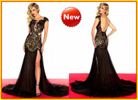 Wholesale 2013 Nude Sexy Mermaid High Collar Lace Black Chiffon Long Celebrity Prom Dresses Dress Gowns