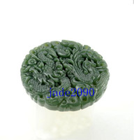 Wholesale AAA Green jade Good luck Hand carved Natural green Dragon and Phoenix jade jadeite charm jade Penda