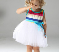 18-24 Months Summer Sleeveless Wholesale - Baby dress Girls dress baby Stripe gauze dress children clothing girls dresses 3 color