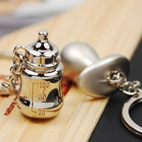 Men baby pacifier keychain - Cute pacifiers baby bottles lover couple keychain gift key chain ring Valentine s Day gifts