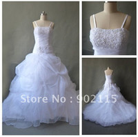 Real Photos Spaghetti Organza Real Samples Beaded Spaghetti Straps Organza New Model 2012 Wedding Dress Party