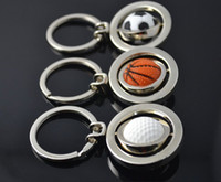 Wholesale Factory direct sale basketball football golf keychain man mini simulation rotating ball key pendant