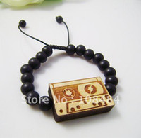 Beaded, Strands   Fashion Unique Wood tape pendant bracelet wooden bead bangle