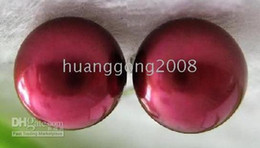 GENUINE FINE 11-13MM HUGE SOUTH SEA RED PEARL EARRING 925SILVER