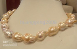 fine natural pearls jewelry 17.5'' 14K 25mm baroque south sea pink pearl necklace 14k
