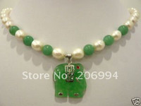 Cheap Charming white pearl jade elephant pendant necklace free shipping