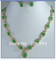 Wholesale fashion jewelry set beautiful green jade Necklace Earring set