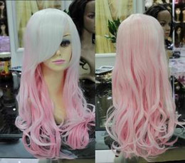 Wholesale Cosplay New Pink Mixed Long Curly Cosplay Full Wig Gift