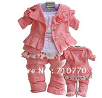 Wholesale 4PCS Set Outerwear T shirt Pants Hot pink Girls Clothing Kids Clothes baby suits baby clothes