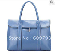 Wholesale Brand Leather handbag Genuine leather bags new Blue beige Handbag Female package