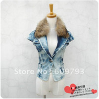 Wholesale 2012 women s fashion slim denim fur vest