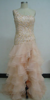 prom dresses 2012 - Spring Prom Dresses One Shoulder Sexy High Slit Beads Sequin Tiered Ruffles Organza Gown