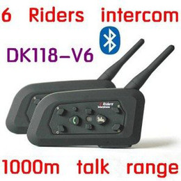 Wholesale Hot Sale One Pair DK118 V6 Motorcycle Helmet Bluetooth Intercom for Riders Interphone with m Talking Range