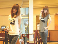 Wholesale White Grey Cotton Women s Round Neck Cartoon Cat Printed Casual T shirt