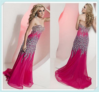 Wholesale Glitter Hot Pink Bling Sweetheart Beads Crystals Floor Length Luxury Prom Dresses Party Dress Evening Gowns Pageant Women Dress HOT