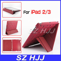 Folding Folio Case apple ipad meshes - Ultra Thin Smart Transformer Stand Leather Case for iPad3 Hard Back Mesh Protective Cover for iPad