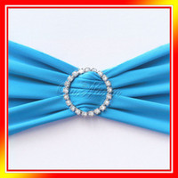 Wholesale 1 Aqua Blue Stretch Chair Cover Band With Diamond Ring Buckle Replace Chair Sash Bow Colors
