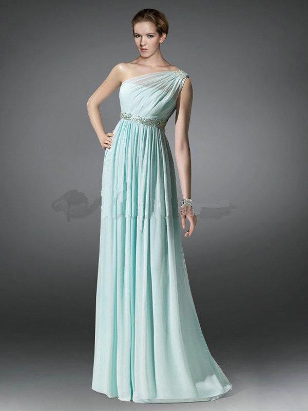 2015 New Mint Chiffon Fashion Greek Goddess One Shoulder ...