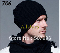 Wholesale Brand New black woolen cap beanies Mens Womens fashion Winter Cold Knitted Beanie Hat Cap One Size