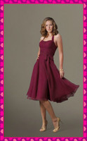 2013 Hot Wine Chiffon Knee Length A- Line Stylish Halter Neck...