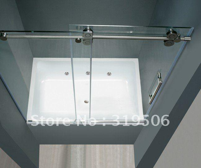 Free Shipping Frameless Sliding Glass Shower Door Full Set 304